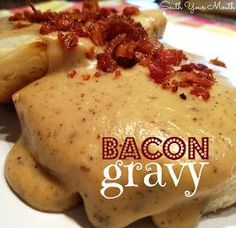 Rich country gravy made from bacon drippings served over biscuits or toast. I grew up on bacon gravy & biscuits. Linda's comment: My mom made the BEST EVER! Bacon gravy remains my all-time fav even today :) Breakfast Dishes, Breakfast Time, Breakfast Recipes, Breakfast Gravy, Bacon Gravy, Bacon Bacon, Gravy From Bacon Grease, Bacon Fest, Sausage Gravy Recipe