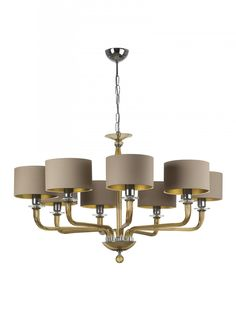 Czarina Gold 8 Arm | Beautiful glass crystal pendant ceiling light, available with clear, smoke or gold coloured glass. Czarina Gold 8 Arm with 8″ Flat Drum Antique Gold silk Gold PVC lining