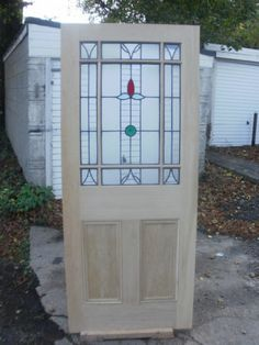 Reclaimed victorian door has richly coloured blue and red for Reclaimed upvc doors