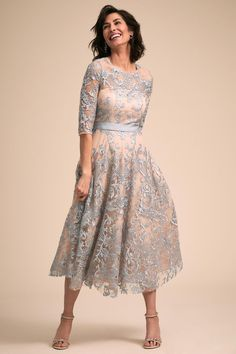 Linden Dress from BHLDN blue lace tea length mother of the bride mother of the groom dress Mother Of Bride Outfits, Mother Of Groom Dresses, Mothers Dresses, Mother Of The Bride Dresses Tea Length, Mother Of The Bride Dresses Vintage, Mother Of The Bride Clothes, Mother Of The Bride Looks, Long Mothers Dress, Dress Vintage
