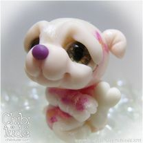 Ooak Kawaii Sweet Baby Pink Chibi Puppy Girl with Flowers Bone and Pillow 20130630052