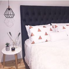 Copper triangles on pillowcases horaaay. Search 'copper triangle pillowcase' on dtll.com.au or click on the shopable link in our profile #dtll #downthatlittlelane