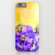 """""""Into Eternity - Yellow and Lavender Purple"""" by Ebi Emporium, Artist Julia Di Sano on Society 6, Colorful Abstract Whimsical Nature Watercolor Fine Art Painting, Sunshine Floral Outdoors Elegant Original Design iPhone Case Cell Phone Tech Device Cover Samsung Galaxy Case #iPhone #Samsung #case #cover #techie #tech #device #fineart #art #watercolor #painting #yellow #purple"""