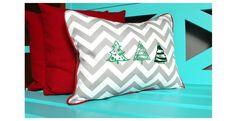 "Christmas pillow tree 15""x19"" Gray Chevron"