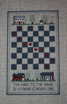"""Finished Cross Stitch Checkerboard Sampler Farmhouse, Friendship Saying, 4-1/2"""" x 7-1/2"""" on Etsy, Sold"""