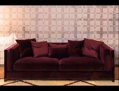Nella Vetrina Albert Modern Italian Upholstered Burgandy Fabric Sofa