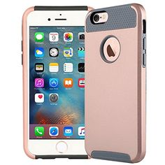 Coosin IPhone 6 6s Armor Series Heavy Duty Dual Layer Shockproof Silicone Phone Protection Case TPU Hybrid Slim Fit Cover for IPhone 6 and IPhone 6s Rose gold *** Click image for more details.