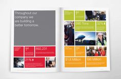 On trend: boxes, big numbers. and Microsoft surface colours ;)  United Airlines Corporate Sustainability Report by Son