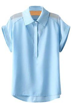Spliced Solid Color Short Sleeve Shirt