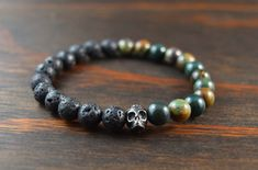 • Mens Beaded Bracelet - Lava Stone and Bloodstone Bracelet - Opposites Attract Bracelet - Mens Yoga Bracelet - Lotus and Lava Bracelet •