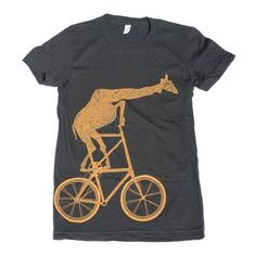 Womens GIRAFFE on a BICYCLE- T Shirt american apparel S M L Xl (Black) ❤ liked on Polyvore featuring t-shirts