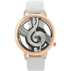 NICERIO M388 Fashion Women's Ladies Hollow Musical Note Style Dial PU Band Quartz Wrist Watch (White)