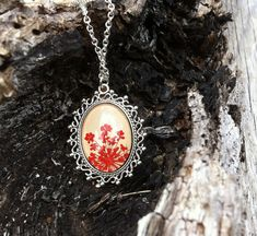 Personalized jewelry  red necklace  pressed flower by MissMayoShop