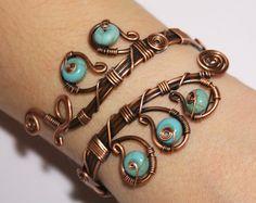 Pulsera-alambre de cobre envuelto pulsera envuelto por BeyhanAkman