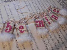 BE MINE Valentine Banner/Pennant Pink Glitter Sheet Music