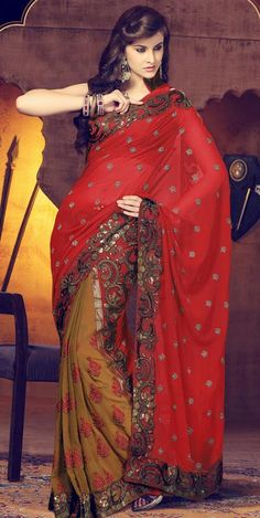 $53.07 Red Embroidery and Sequins Work Faux Georgette Saree 26457
