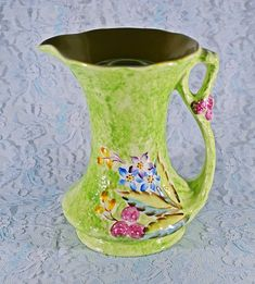 James Kent Ltd Fenton Pitcher Flower Frog, Vintage Jug, Green Floral, Table Centerpiece White Wood Floors, Green Ground, Small Bouquet, Dark Furniture, Flower Frog, Bedroom Green, Gold Glass, Table Centerpieces, Trinket Boxes