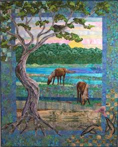 'Taylor Creek,' a quilt by Eileen Williams, depicts the wild horses near Beaufort, NC