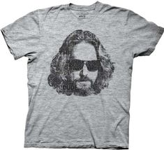 The Big Lebowski Dude Face Type Collage Mens Heathered Gray T-shirt Small @ niftywarehouse.com #NiftyWarehouse #TheBigLebowski #BigLebowski #Movies #Movie #Comedies