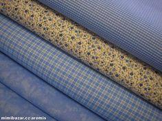 látka MODRÁ VARIACE  modrá kostička (větší) 50 cm Decor, Decoration, Decorating, Deco