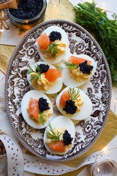 Eggs Royale Devilled Eggs These easy Devilled Eggs are given a luxurious twist with fresh cream, smoked salmon and lumpfish caviar, inspired by the classic brunch dish, Eggs Royale. Avocado Deviled Eggs, Bacon Deviled Eggs, Deviled Eggs Recipe, Shrimp Avocado, Bacon Avocado, Egg Recipes, Appetizer Recipes, Cooking Recipes, Canapes Recipes