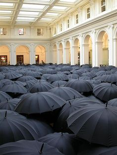 GPO umbrella art installation in Melbourne  - this was probably taken from first floor looking down