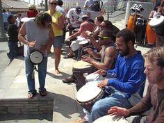 Djembe drum circle Huntington Beach pier