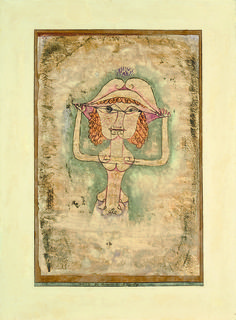"Paul Klee (1879-1940) portrayed singer Lilli Lehmanna in a suggestive costume as Fiordiligi in Mozart's opera ""Cosí fan tutte"", 1923. One of his largest works, he repeated it six times, more than any other in his oeuvre.  David Tunick at the Salon du dessin 2014. Next edition: 25 - 30 March 2015"