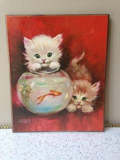 Kitties and fishbowl 60s vintage print on wood by SpaceModyssey