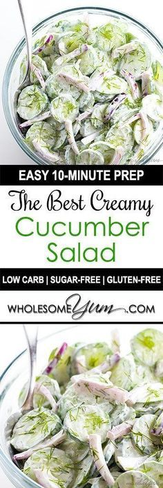 The Best Creamy Cucumber Salad Recipe with Dill (Low Carb, Gluten-free) - The be. The Best Creamy Cucumber Salad Recipe with Dill (Low Carb, Gluten-free) - The best easy, creamy cucumber salad recipe ever! It takes just minutes to t. Salad Recipes Low Carb, Dill Recipes, Cucumber Recipes, Keto Recipes, Cooking Recipes, Healthy Recipes, Simple Salad Recipes, Best Salad Recipes, Recipes With Cucumbers