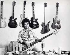 Bernie Rico Sr. with an early Eagle bass at his L.A. fabrication shop on Valley Boulevard circa 1977. A Mockingbird bass and various double-cutaway Eagle and single-cutaway Seagull 6-strings hang behind him.
