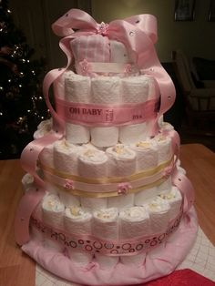 Baby girl diaper cake I made for my friend.