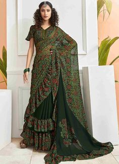 Green Foil Printed Saree