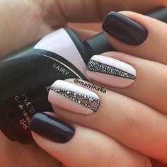Cute girl nail designs are something we all aspire too. That is why we have consulted expert nail artists for easy nail art for beginners. Dark grey and Pink base nail polish colors with rhinestone accents Classy Nail Designs, Nail Art Designs, Nails Design, Winter Nail Art, Winter Nails, Fall Nails, Classy Nails, Simple Nails, Hair And Nails