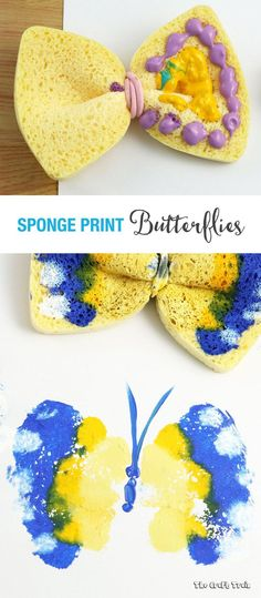 Sponge Butterfly Printing Sponge Butterfly Printing Create Colourful Simple Butterfly Prints Using A Sponge And Hair Elastic Create Gorgeous Colourful Butterfly Prints Using A Kitchen Sponge Preschool Crafts, Kids Crafts, Arts And Crafts, Garden Crafts For Kids, Toddler Art, Toddler Crafts, Projects For Kids, Craft Projects, Craft Ideas