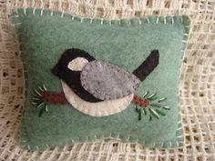 Winter Chickadee Penny Rug Pillow Pincushion by pennysbykristie