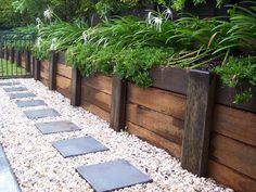 99 DIY Retaining Wall Ideas for Beautiful Garden - Retaining Wall Design Ideas 2018 Landscaping Blocks, Landscaping Retaining Walls, Outdoor Landscaping, Front Yard Landscaping, Outdoor Gardens, Landscaping Ideas, Railroad Ties Landscaping, Hillside Landscaping, Inexpensive Landscaping