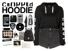 """""""CROPPED HOODIE"""" by blushingfreckles ❤ liked on Polyvore featuring Michael Kors, Wrangler, Topshop, Converse and H&M"""