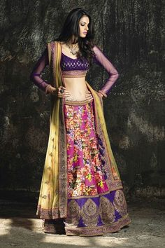 Gagra choli - the purple is beautiful. The top is perfect. Nice colours for sangeet.