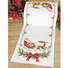 Santa and His Sleigh Table Runner - Cross Stitch, Needlepoint, Embroidery Kits – Tools and Supplies Cross Stitch Christmas Stockings, Xmas Cross Stitch, Christmas Cross, Cross Stitching, Cross Stitch Embroidery, Embroidery Patterns, Hand Embroidery, Cross Stitch Designs, Cross Stitch Patterns
