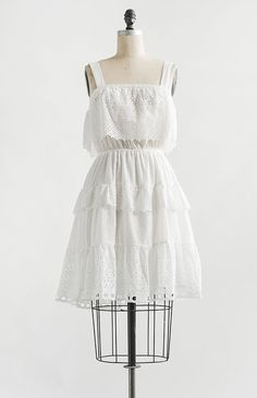 Vintage and Vintage Inspired Clothing / Feminine Classic White Eyelet Detail Tiered Midi Dress / Varennes Dress – Adored Vintage 1950s Party Dresses, 1950s Outfits, Vintage Dresses, Vintage Outfits, Vintage Fashion, Pretty Outfits, Pretty Dresses, Minimal Dress, Classy Outfits