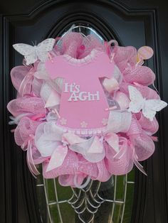It's A Girl Deco Mesh Wreath