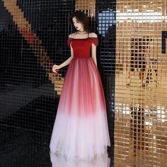 Red off-shoulder slim tulle unique evening dress, celebrity party prom piano performance dress original design