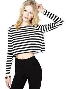 Black White Striped Long Sleeve Crop T-Shirt US$15.86