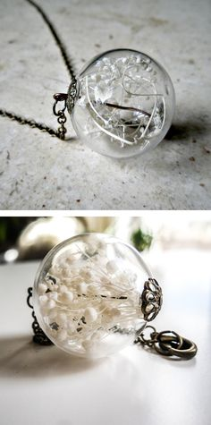 Baby's breath orb necklace