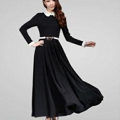 Autumn Long Sleeve Elegant Black Dress (With Belt)