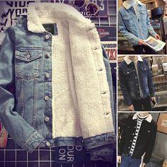 Mens Western Vintage Fleece Jacket Fur Lining Coat Jean Denim Single Breasted ht