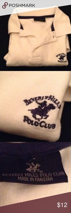Polo shirt M Medium white Polo shirt. Polo Club Beverly Hills. In size medium for men. It is used but in great condition. No tears, no holes. beverly hills polo Shirts Polos