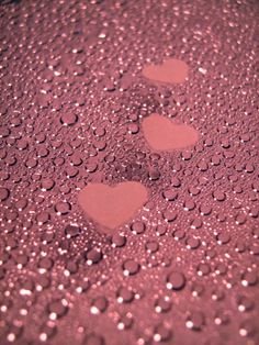 Pretty Pink ღ Hearts and Raindrops