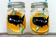 DIY Mason jars with state or USA labels!